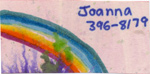 "handcrafted business card with watercolor rainbow, ""Joanna"" and phone number"