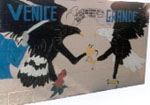 Venice mural with two fighting eagles, location unknown